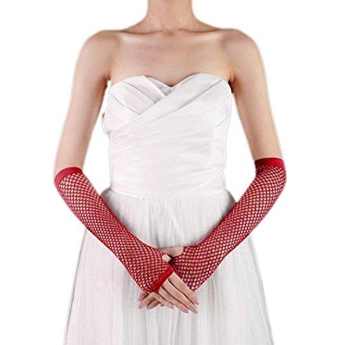 Saingace gloves Punk Goth Dame Disco Tanz Kostüm Spitze Fingerless Mesh Fischnetz Handschuhe (Rot)
