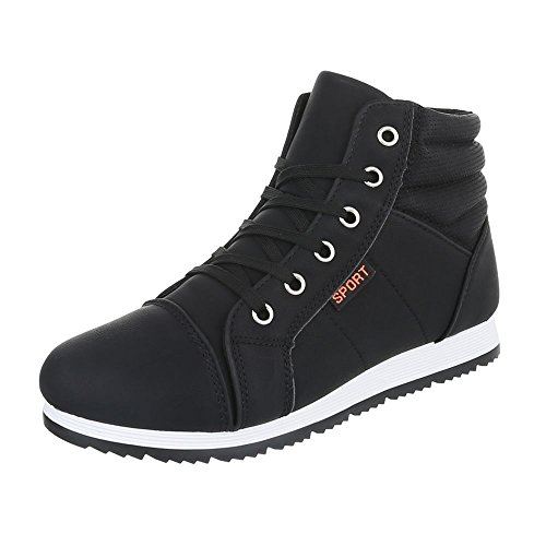 High-Top Sneaker Damenschuhe High-Top Sneakers Schnürsenkel Ital-Design Freizeitschuhe Schwarz