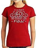Wixsoo T-Shirt Maglietta Compleanno 60 Anni Donna (XL, Rosso)