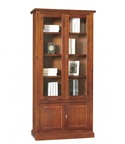 Spazio casa libreria 2 ante classica in legno arte povera - noce