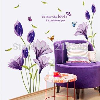 saturday-monopoly-diy-wall-stickers-home-decor-purple-lilies-decals-art-flowers-murals-adesivos-de-p