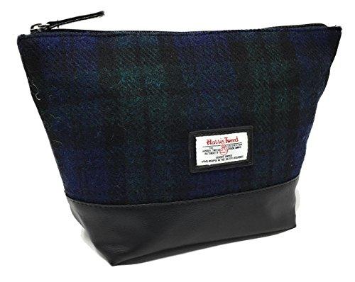 Harris Tweed Black Blue and Green Tartan Wash Bag Boxed