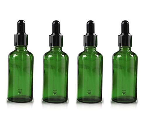 4 STÜCKE 50 ML 7,7 UNZE Leere Nachfüllbare Grüne Glas Tropfflasche mit Schwarzem Drop Deckel und Pipette Ätherisches Öl Parfüm Aromatherapie Glas Topflappen Kosmetikbehälter -