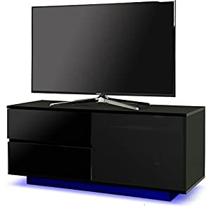 "Centurion Supports Gallus ULTRA Remote Friendly Beam-Thru Premium High Gloss Black with 2-Black Drawers & 3-Shelf 32""-55"" LED/OLED / LCD TV Cabinet with 16 colour LED Lights"