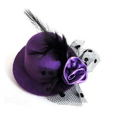 JBR Fascinator Mini Zylinder Hut Damen Zylinderhut mit Blume Federn Mini Hut Miniatur auf Haarreif (Lila) -