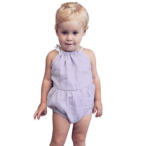 eborenes Baby Mädchen Sommer Einfarbig Bandage Body Strampler Overall Jumpsuit Bodysuits Trägerkleid Babykleidung Kinder Spielanzug Ärmellose Kleider (80, Grau) (Dj-halloween-kostüme Ideen)
