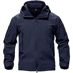 MAGCOMSEN Hiver Imperméable Vestes Encapuchonné De Plein air Pêche Chasse Veste Travail Manteaux Fleece Lining Bleu S