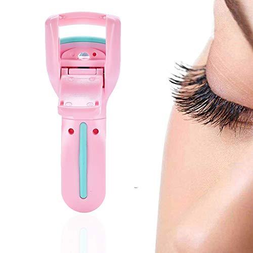 1PC tragbare Mini-Wimpernzange Langlebige Wimper Applicator Kunststoff Gummi Wimpernzange mit 1 Refill Pads Reise-Schönheits-Werkzeug (Pink)