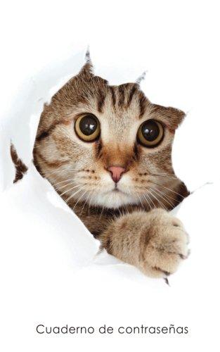 Cuaderno de contraseñas: Libro de registro de direcciones y contraseñas en internet - Cubierta de gato escondido (Cuadernos para los amantes de los gatos)