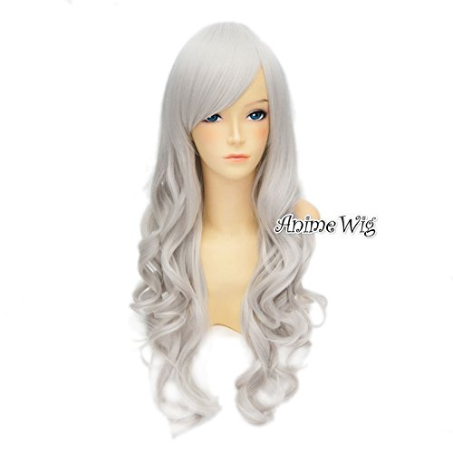 Top Cosplay Grau 70cm langes lockiges Damen Anime Beliebte Cosplay Lolita Wei... (Halloween Perücken)