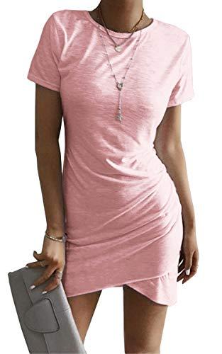 ECOWISH Damen Enges Kleid Sommerkleid Rundhals Kurzarm Kleid Bodycon Unregelmäßig Minikleid Rosa S - Ziemlich Rosa Kleid