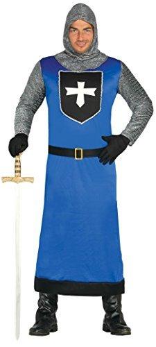 Herren blau mittelalterlich Ritter historische Kreuzritter Kostüm Kleid Outfit groß - Blau, (Kostüme Erwachsenen Kreuzritter)