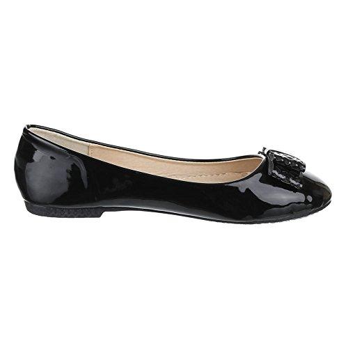 Chaussures pour enfants, Z de 206, Ballerines Vernis Chaussures basses avec décorations Noir - Noir