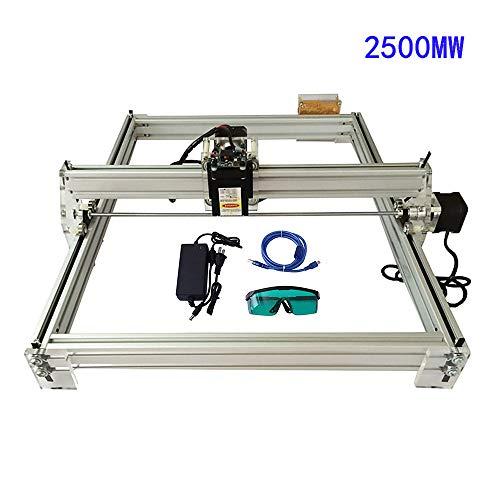 HUKOER 2500 MW Máquina de grabado láser Máquina de tallado Kit de bricolaje USB 12V Área de grabado 40×50 cm sin limite de altura de grabado