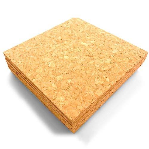 Laucork Untersetzer aus Kork, 15,2 x 15,2 cm, Korkmatte, quadratisch, 6 Stück