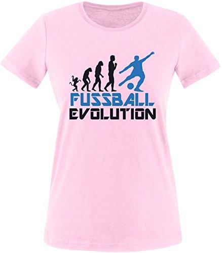 EZYshirt® Fussball Evolution Damen Rundhals T-Shirt Rosa/Schwarz/Blau