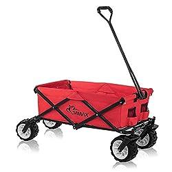 SAMAX Bollerwagen Handwagen Gartenwagen Strandwagen Klappbar Faltbarer Bollerwagen Transportwagen - Rot