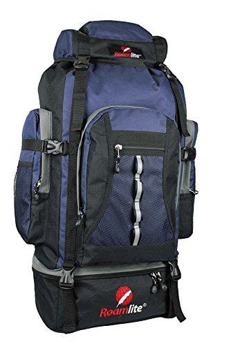 Roamlite 80 85 Liter Backpacker Rucksack - Festival Camping Rucksack - Rucksack Wanderrucksack – Trekking-Rucksack - Super Leichte 1,2 Kg - Viele Fächer - XL Extra Groß - RL15KN (Schwarz Blau)