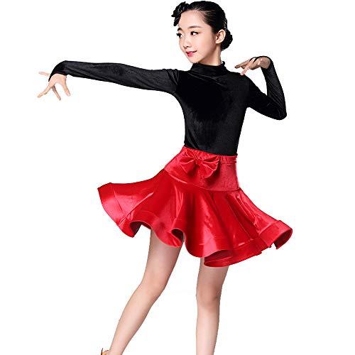 HUO FEI NIAO Tanzkostüme - Kinder Latein Tanz Röcke Praxis Kleidung Wettbewerb Test-Ebene setzt genau die Standard-Kleidung Kinder Latin Dance Performance-Kleidung (Farbe : Rot, größe : 160cm)