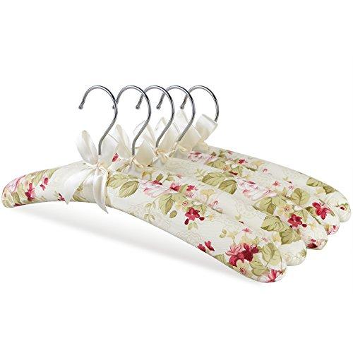 GLCON 5 Stück Blumen Print Satin gepolsterte Kleiderbügel mit elfenbeinfarbenem Schleife für Kleider, Wollwaren, Bridal, Dessous und etc.. rosarot (Gepolsterte Kleiderbügel Dessous)