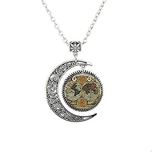 Antik Globe Anhänger, antik Globe Halskette, Old World Map Moon Schmuck, Moon Halskette Glas Art Bild (Bild Globe)