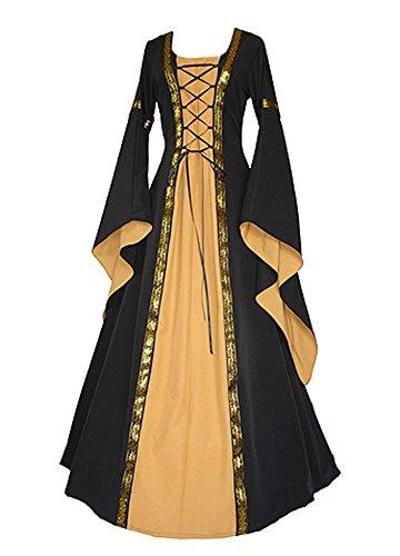 Outgobuy Damen Mittelalter Renaissance Front Lace Up Vintage Stil Gothic Kleid Retro Kleid Cosplay Kostüm (XL, Schwarz Gelb) (Lace Up Kleid Kostüme)