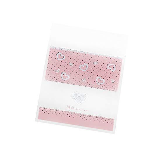 MoGist 100 Stück Selbstklebende OPP Tütchen Rosarotes Hohles Herzform Muster Plastiktüten Geschenk Verpackung Tasche für Süßigkeiten Kekse (Rosa)