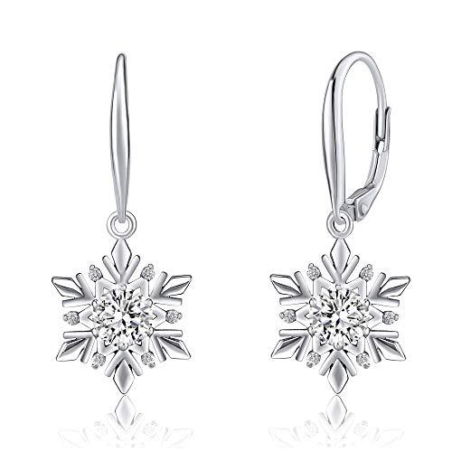SILVEGO Damen Ohrringe aus 925 Sterling Silber Swarovski® Crystals Schneeflocke