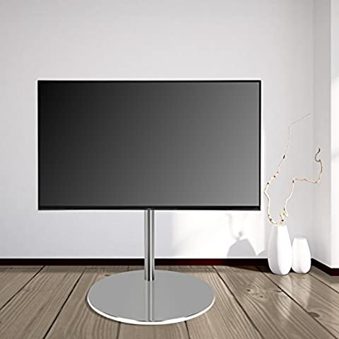 DESIGN TV FLOOR STAND by Cavus - Ø 53cm Round Base, Brushed Stainless Steel , 100 cm Column Brushed Stainless Steel - max. VESA 400x400 - 32