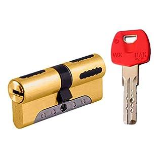 IFAM WX1000 Bombin de seguridad 30×30 color LATON, reforzado, antirotura, antibumping, antitaladro, leva antiextracción, cerradura para puerta, incluye 5 llaves el cilindro y tarjeta de seguridad