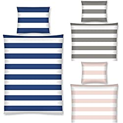 Aminata Kids - Kinder-Bettwäsche-Set 135-x-200 cm Streifen-Motiv gestreift-e 100-% Baumwolle Renforce dunkel-blau-e Weiss-e maritim-e
