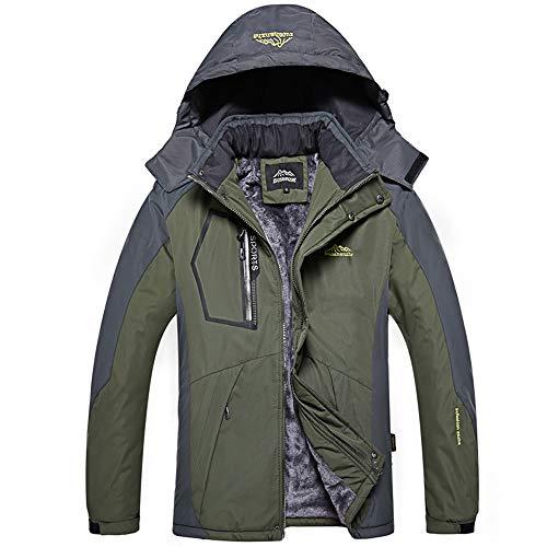 LandFox-Cappotto Giacche All'aperto Sportive Uomo Cappotto Sportivo da Esterno Imbottito in Velluto Imbottito di Cotone Lungo Casual Invernale da Uomo Hardshell Jacket Antivento Impermeabile XL