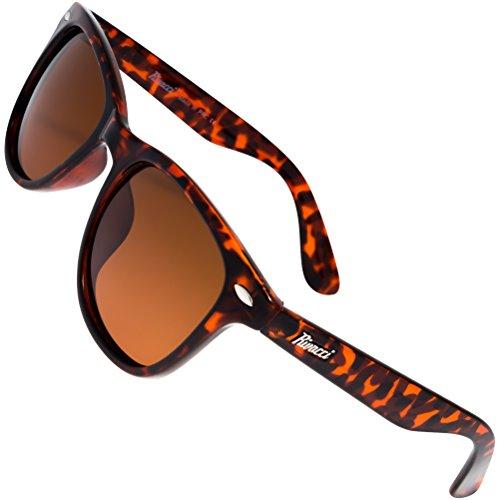 Rivacci Sonnenbrille Herren Damen Wayfarer Retro Design Polarisierte - Etui & Brillentuch ANGEBOTEN - Schildpatt ( Tortoise ) / Braun