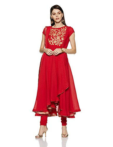 BIBA Women's Anarkali Salwar Suit Set (SKD5539_Red_32)