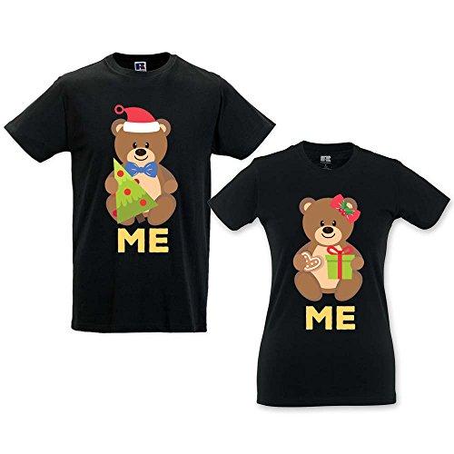 T-Shirt dI Coppia Natalizie Uomo Donna Idea Regalo Natale Orsetti NERE