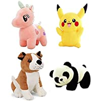 mahi toys combo of panda pikachu bulldog and unicorn best soft teddy bear especially for girls kids boys gifts (Multi…