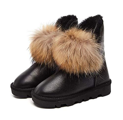 DANDANJIE Women es Snow Boots Winter Rutschfest Ankle Schuhe Flat Heel Pom-pom Booties Schuhe schwarz,Black,36EU - Pom Bootie