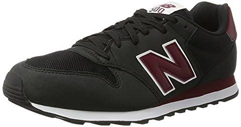 New Balance Men 500 Low-Top Sneakers, Multicolor (Black/Red), 9.5 UK
