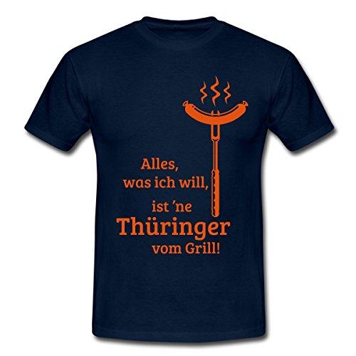 Spreadshirt Grillen Ich Will Thüringer Bratwurst vom Grill Spruch Männer T-Shirt, XXL, Navy
