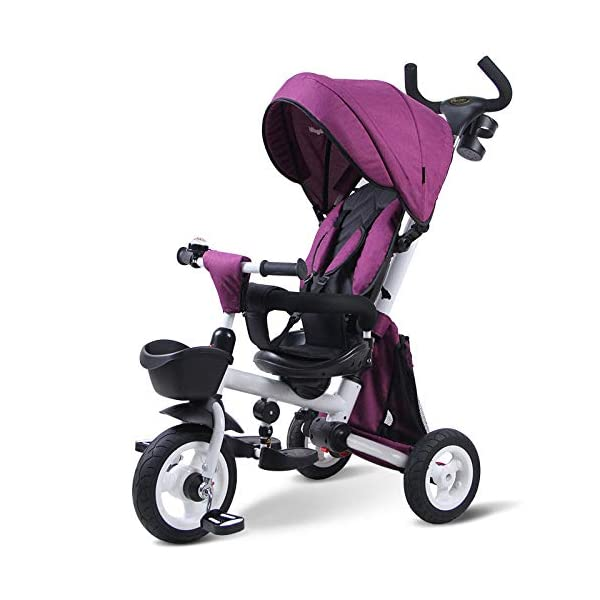 Childrens Folding Tricycle 12 Months To 6 Years 360° Swivelling Saddle Childrens Tricycles Seat Can Be Adjusted Back Folding Sun Canopy Handle Bar Kids Tricycle Maximum Weight 25 Kg,Purple BGHKFF ★Material: Carbon steel + environmental protection paint, suitable for children from 1 to 6 years old, the maximum weight is 25 kg ★ 4 in 1 multi-function: can be converted into a stroller and a tricycle. The seat can be rotated 360°, parent-child interaction, and can also move back and forth ★Safe design: three-point seat belt, front wheel clutch, safer on the way, rear wheel brake, lock rear wheel 1