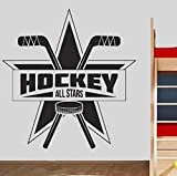 Hockey Team Wand Vinyl Aufkleber Eishockey Wandtattoo Kinder Schlafzimmer Hockey Logo Wandkunst Dekor Sport abnehmbare Wandbild 57x59cm