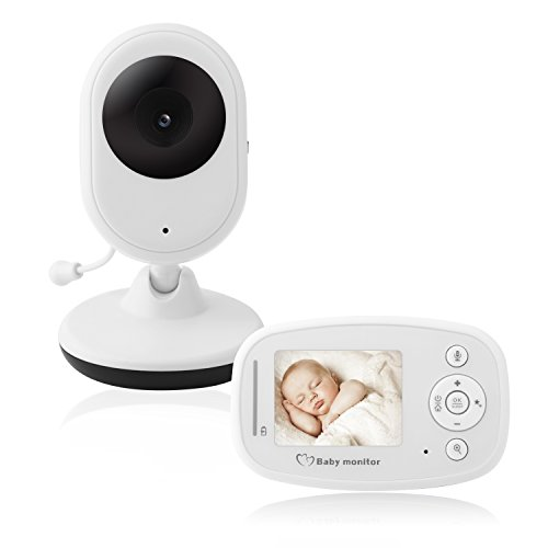 Ecoute Bébé Vidéo Babyphone Écran LCD 2.4'' Caméra Vision Nocturne Grand Angle de Vue Longue Portée Température Surveillée Berceuses Intégrés Surveillance de la Température de Vision Nocturne et Système de Communication Bidirectionnelle(Blanc)