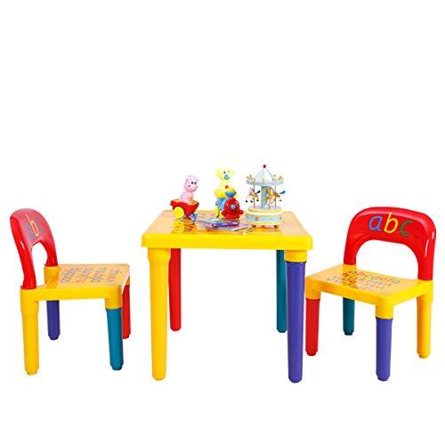 Einzigartige Tisch-set (COSTWAY 3tlg. Kindersitzgruppe Kindermöbel Kindertisch mit 2 Kinderstühlen)