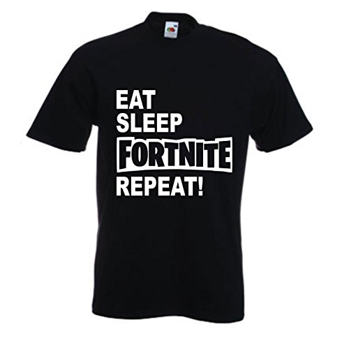 Embroidery and Print City Kids Eat Sleep Fortnite Repeat T-Shirt, Ages 5-15, Various Colours