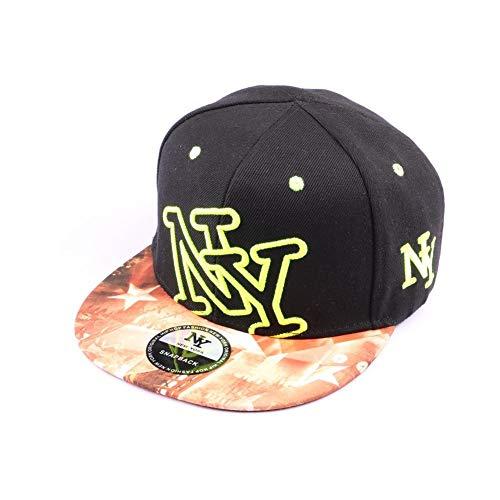 Hip Hop Honour Snapback New York Noire, NY Jaune et Visière Bariolée Style Urban Wear - Mixte