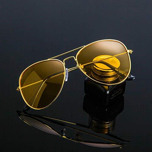 Sonnenbrillen Beste Nachtfahrbrille Für Nachtsichtbrille, Hd-nachtsicht-polarisierung | Nachtfahren | Risiken Reduzieren | Fahrglascherbrille Golden Frame Night Vision Film (Taschentuch)