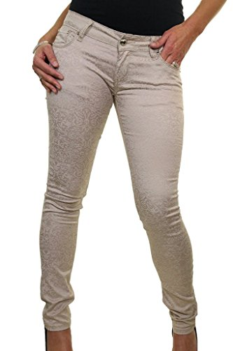 ... ICE (1520) Stretch Superenge Jeans Low Rise Emboss Flock Effect Beige  ... b0ba9003bb