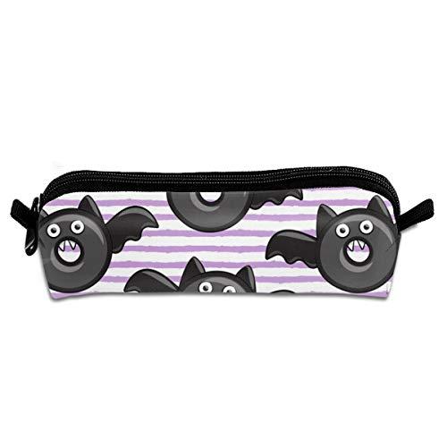 n Donuts On Light Purple Strip Pencil Pouch Bag Stationery Pen Case Makeup Box with Zipper Closure 21 X 5.5 X 5 cm ()