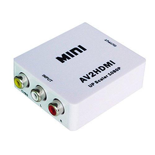 P97 AV Cinch zu HDMI Konverter Digital Analog CVBS Wandler Adapter 1.080p für TV, unterstützt Auflösung bis zu 1080p, Ideal zum Anschluß von Geräten mit Composite Video Ausgang an Geräte mit HDMI Eingang, Komaptibel zu HDCP 1,0 / 1,1 / 1,2 / 1,3 / 1,4 | Komaptibel zu HDMI 1,3, Kompatible zu NTSC und PAL (automatisch geprüft), Farbe Weiß