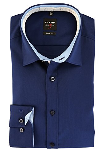 OLYMP Level Five Body Fit Hemd Langarm Stretch Nachtblau Nachtblau